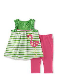 Kids Headquarters 2-Piece Flamingo Top And Legging Set Girls 4-6x