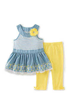 Kids Headquarters Chambray Peplum Top and Solid Legging 2-Piece Set Girls 4-6x