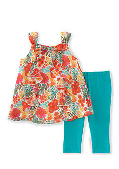 Kids Headquarters Floral Ruffle Top and Solid Legging 2-Piece Set Girls 4-6x