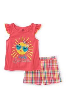 Kids Headquarters Sunshine Top and Plaid Short 2-Piece Set Girls 4-6x