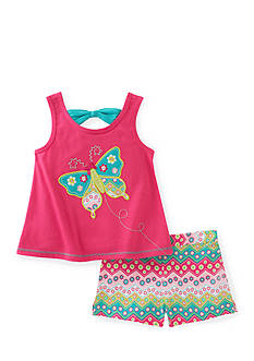 Kids Headquarters Butterfly Tank and Printed Short 2-Piece Set Girls 4-6x