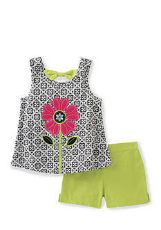 Kids Headquarters Flower Tank and Solid Short 2-Piece Set Girls 4-6x