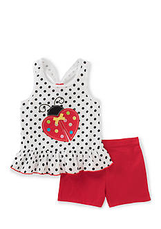 Kids Headquarters Ladybug Top and Short 2-Piece Set Girls 4-6x