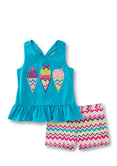 Kids Headquarters Icecream Top and Chevron Short 2-Piece Girls 4-6x