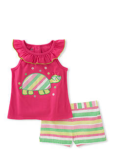 Kids Headquarters Turtle Top and Striped Shorts 2-Piece Set Girls 4-6x