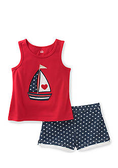Kids Headquarters Sailboat Top and Short 2-Piece Set Girls 4-6x