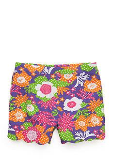 J. Khaki Floral Scallop Short Girls 4-6x