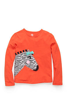J. Khaki® Long Sleeve Zebra Top Girls 4-6X