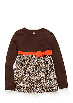 J. Khaki® Long Sleeve Animal Print Babydoll Top Girls 4-6X