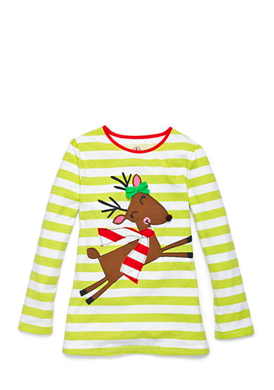J. Khaki® Reindeer Stripe Top Girls 4-6x