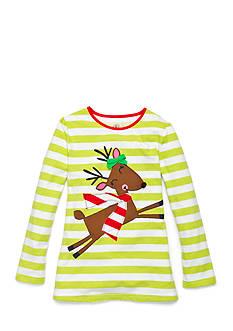 J. Khaki Reindeer Stripe Top Girls 4-6x