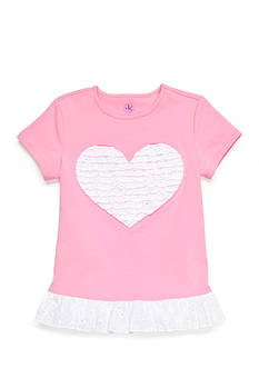 J. Khaki Ruffle Heart Tee Girls 4-6x