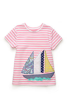 J. Khaki Sailboat Stripe Tee Girls 4-6x