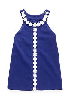J. Khaki Crochet Trim Tank Top Girls 4-6x