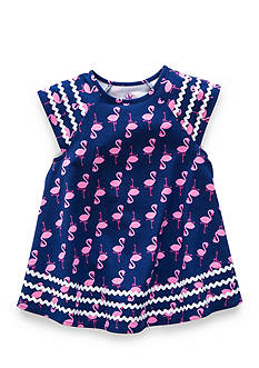 J. Khaki Flamingo Babydoll Top Girls 4-6x