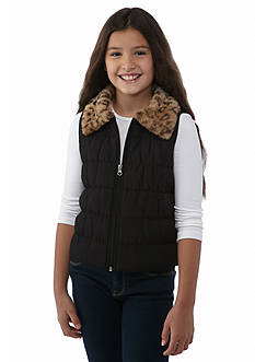 J Khaki™ Faux Fur Collar Puffer Vest Girls 7-16