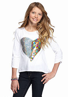 J Khaki™ Sequin Heart High Low Tee Girls 7-16