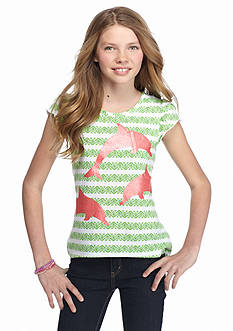 J Khaki™ Dolphin Print High Low Top Girls 7-16