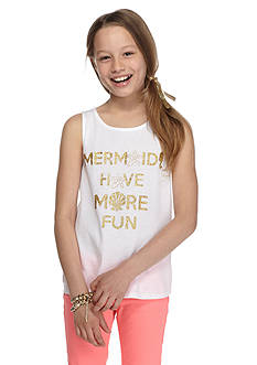 J Khaki™ 'Mermaids Have More Fun' Bow Tank Top Girls 7-16