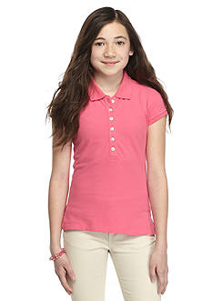 J. Khaki Solid Polo Top Girls 7-16