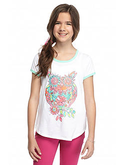 J. Khaki Floral Owl Ringer Top Girls 7-16