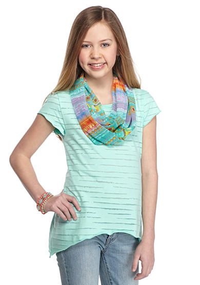 J. Khaki® Short Sleeve Burnout Top with Scarf Girls 7-16