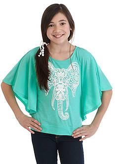J. Khaki Elephant Crochet Top Girls 7-16