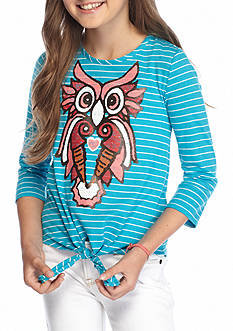J. Khaki Owl Stripe Tie Front Top Girls 7-16