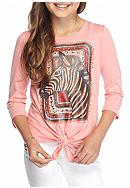 J. Khaki® Zebra Tie Front Top Girls 7-16