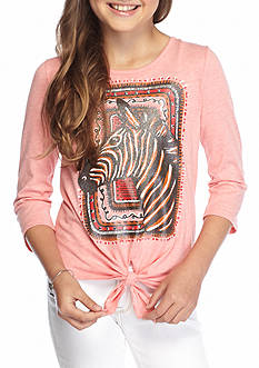 J. Khaki Zebra Tie Front Top Girls 7-16