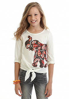 J. Khaki Elephant Leaf Tie Front Top Girls 7-16