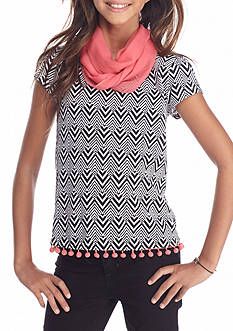 J. Khaki Pom Pom Scarf Top Girls 7-16