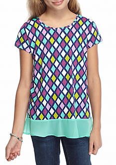 J. Khaki® Diamond Printed Knit Top Girls 7-16