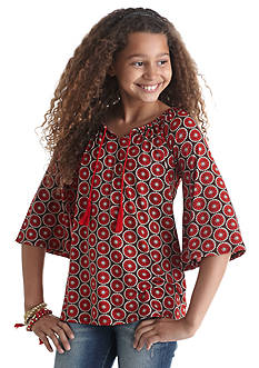 J. Khaki Bell Sleeve Geo Top Girls 7-16