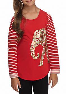 J. Khaki Glitter Elephant Top Girls 7-16