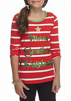 J. Khaki Merry Southern Christmas Glitter Top Girls 7-16