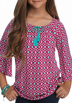 J. Khaki Tassel Bell Sleeve Top Girls 7-16