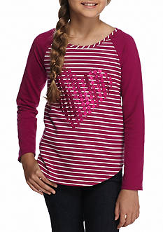 J. Khaki French Terry Heart Top Girls 7-16