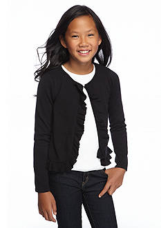 J. Khaki Ruffle Sweater Cardigan Girls 7-16
