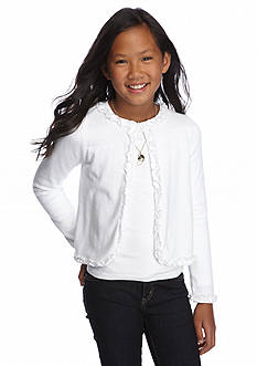 J. Khaki Long Sleeve Ruffle Cardigan Girls 7-16