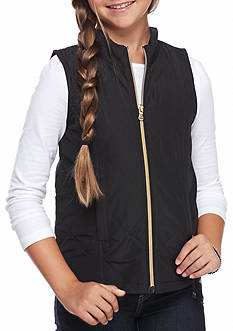 J. Khaki Solid Zip Up Puffer Vest Girls 7-16