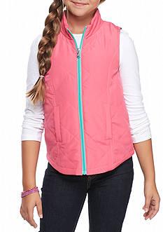 J. Khaki Solid Zip Up Puffer Vest Girls 7-16