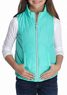 J. Khaki Printed Zip Up Puffer Vest Girls 7-16