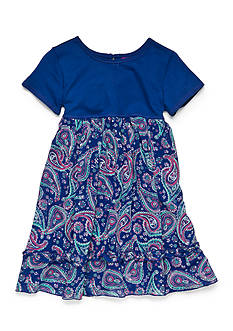 J. Khaki Solid To Paisley Print Dress Girls 4-6x