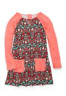 J. Khaki® Heart Acorn Print Dress Girls 4-6X