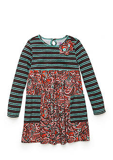 J. Khaki Paisley Striped Dress Girls 4-6X