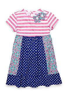 J. Khaki Dot Stripe Knit Dress Girls 4-6x