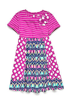 J. Khaki Multi Panel Knit Dress Girls 4-6x