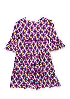 J. Khaki Stained Glass Tiered Dress Girls 4-6x