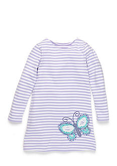 J. Khaki Butterfly Stripe Dress Girls 4-6X